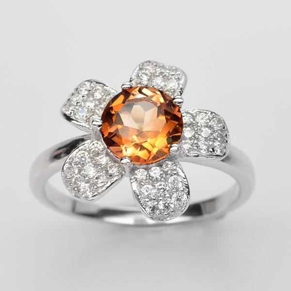 แหวนพลอยแท้ แหวนเงิน925 ชุบทองคำขาว พลอยโทแพซสีแชมเปญ ประดับเพชร CZ