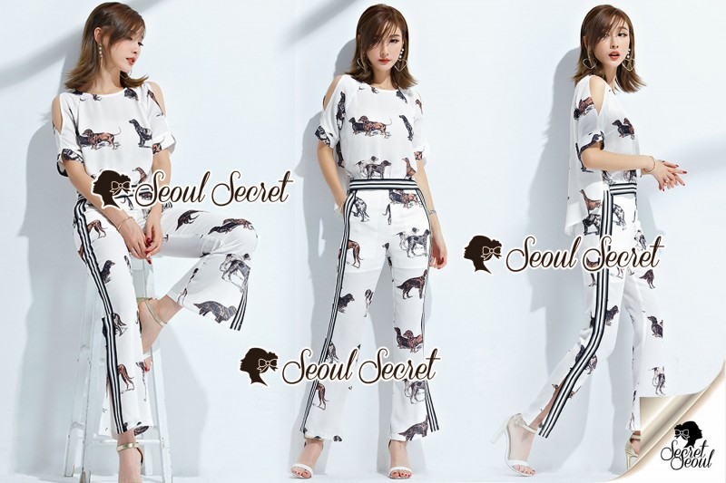 เสื้อผ้าแฟชั่นเกาหลี Seoul Secret Say's...Chic Chic Dog Print Fashion Set