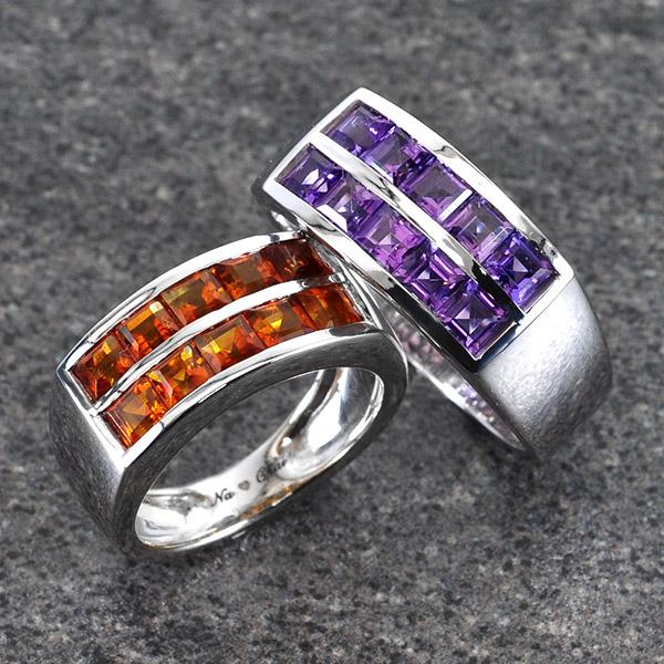 แหวนคู่รักสลักชื่อ ฝังพลอยแท้ ตัวเรือนทองคำขาวแท้ สามารถเลือกพลอยได้