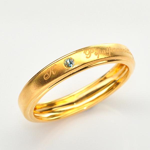 แหวนเงินชุบทองสลักนามสกุล ฝังพลอยแท้