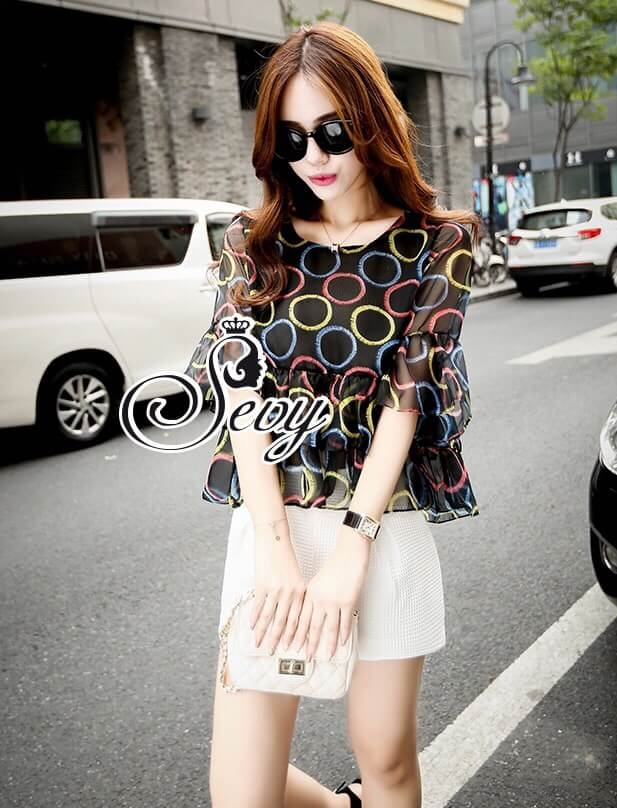 Sevy Two Pieces Of Bubble Chiffon Blouse With White Shorts Suit Sets