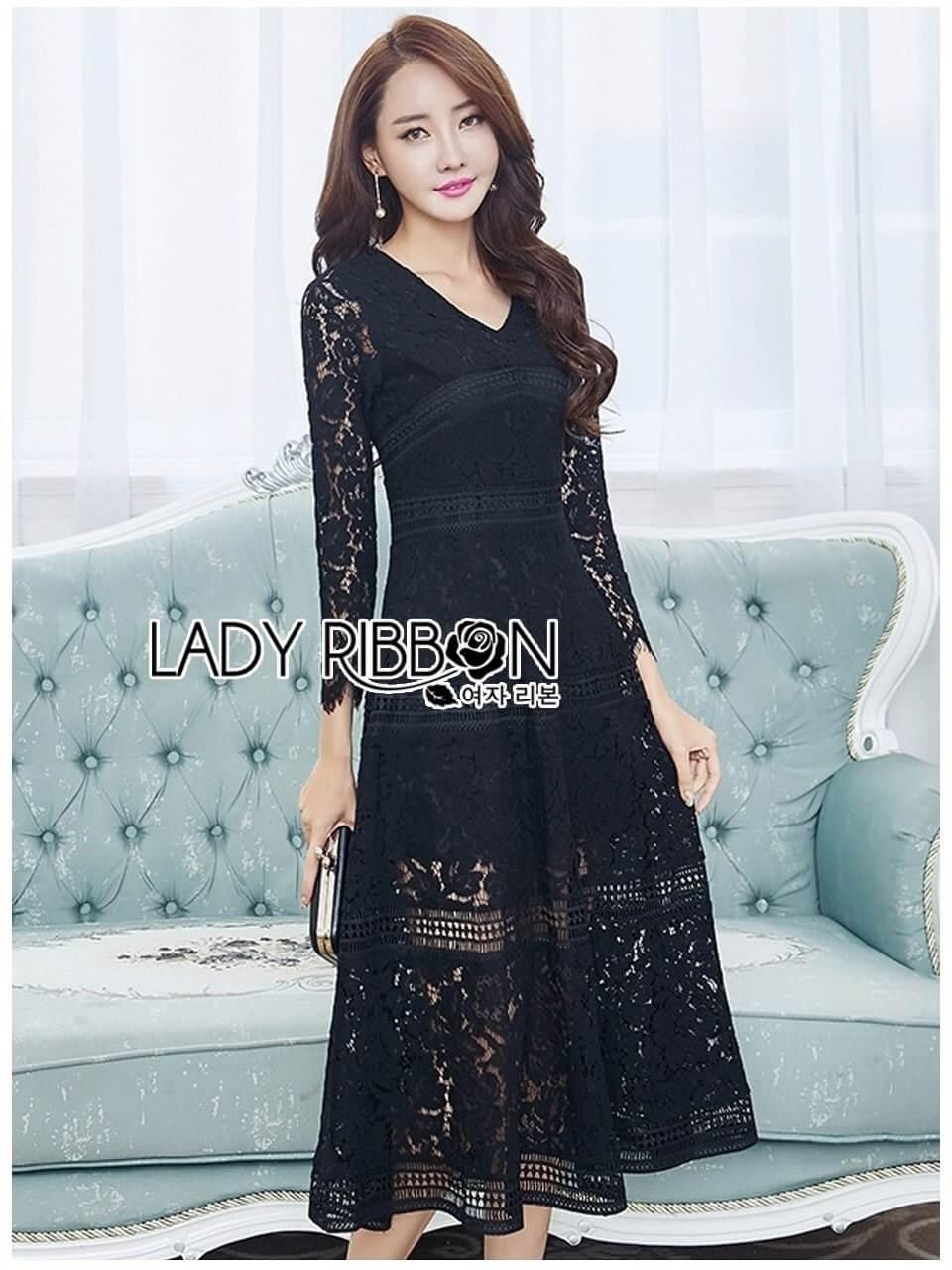 &#x1F380 Lady Ribbon's Made &#x1F380 Lady Amy Classic Black Lace Midi Dress