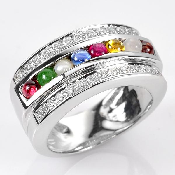 แหวนนนพเก้า แบบเรียงแถว