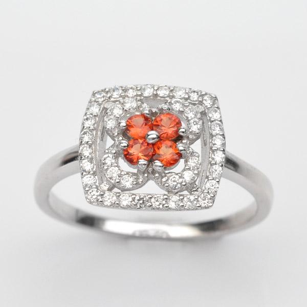 แหวนพลอยแท้ แหวนเงิน925 พลอย แซฟไฟร์ ประดับเพชร CZ ชุบทองคำขาว