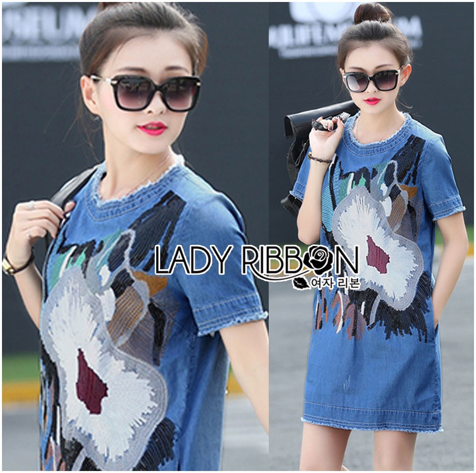 &#x1F380 Lady Ribbon's Made &#x1F380 Lady Sophie Sequin Embroidered Ripped Korea Denim Dress
