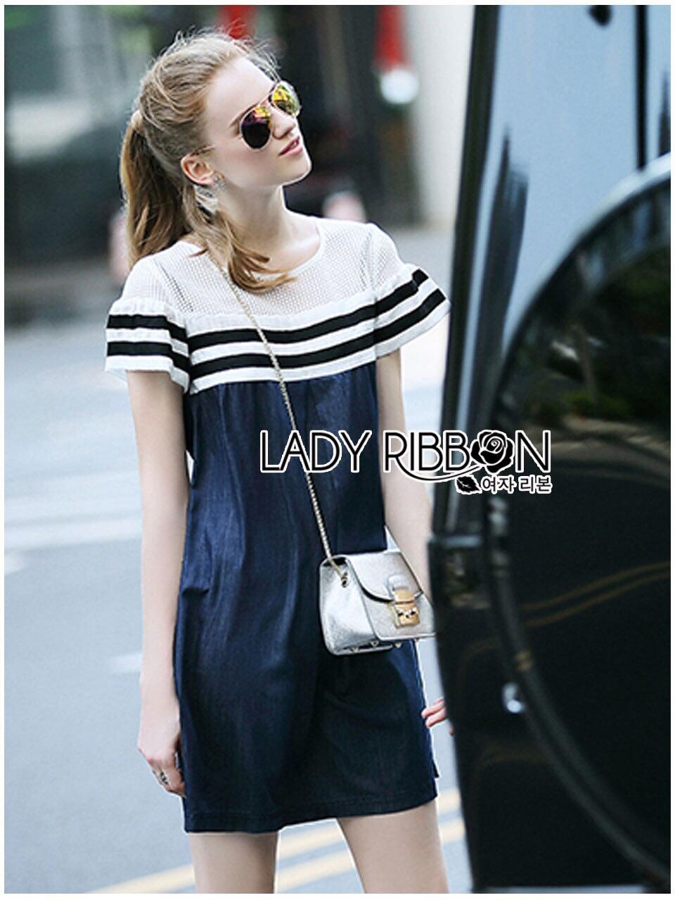 Lady Ribbon KOrea Denim Dress LR03130616 &#x1F380 Lady Ribbon's Made &#x1F380 Lady Aurelie Sporty Minimal Striped Denim Dress เดรสผ้าเดนิม