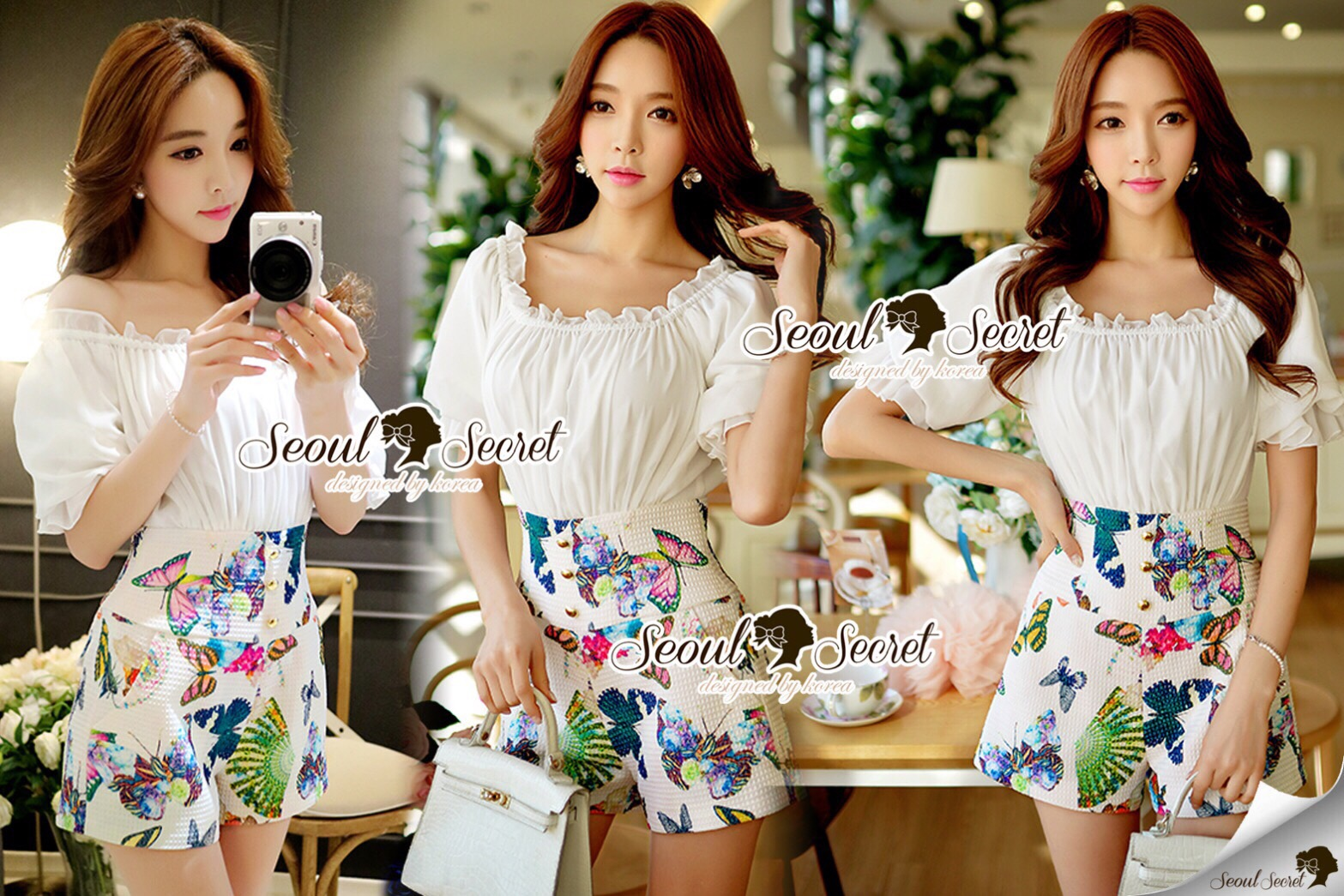 Lady Ribbon Korea Brand SS16300516 Seoul Secret Say's .... Sweety Color Butterfly Playsuit