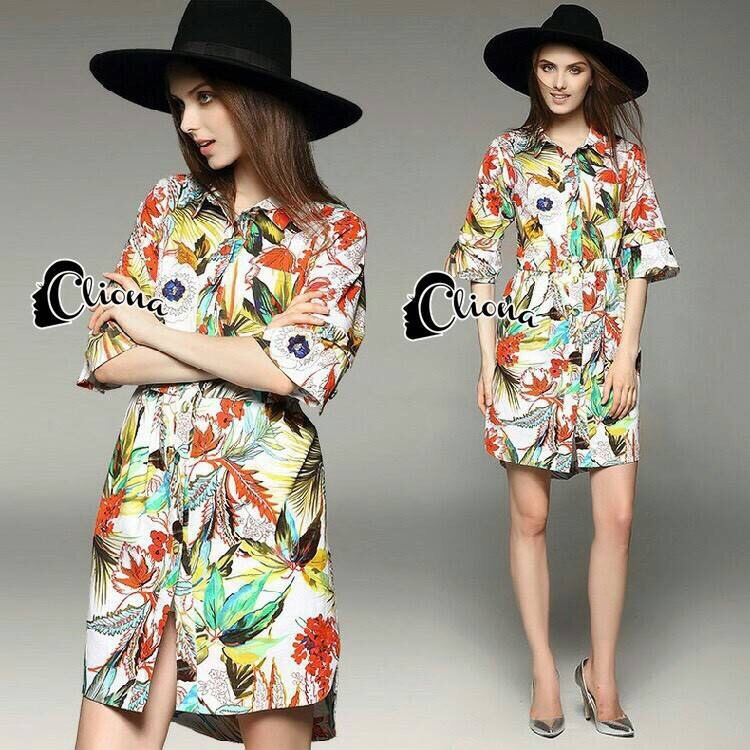 Cliona made' Inca Jungle Shirt Dress Export Grade-Mini Dress