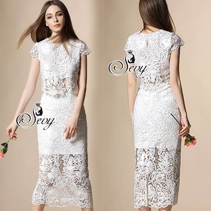 Sevy Two Pieces Of Valentino Vintage Lace Crop Blouse With Midi Lace Skirt Suit Sets