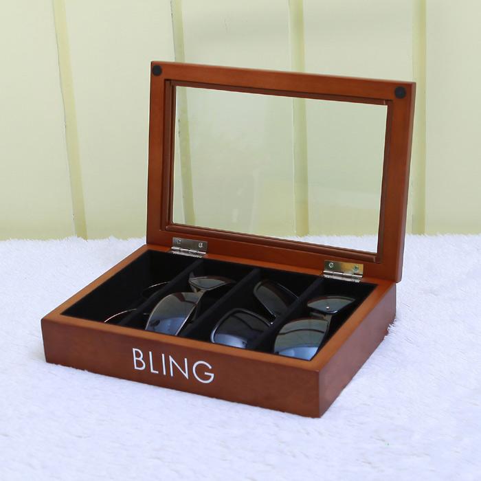 กล่องไม้เก็บแว่นตากันแดด สีน้ำตาล