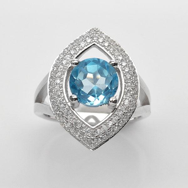แหวนพลอยแท้ แหวนเงิน925 พลอย สกายบลูโทปาส ประดับเพชร CZ ชุบทองคำขาว