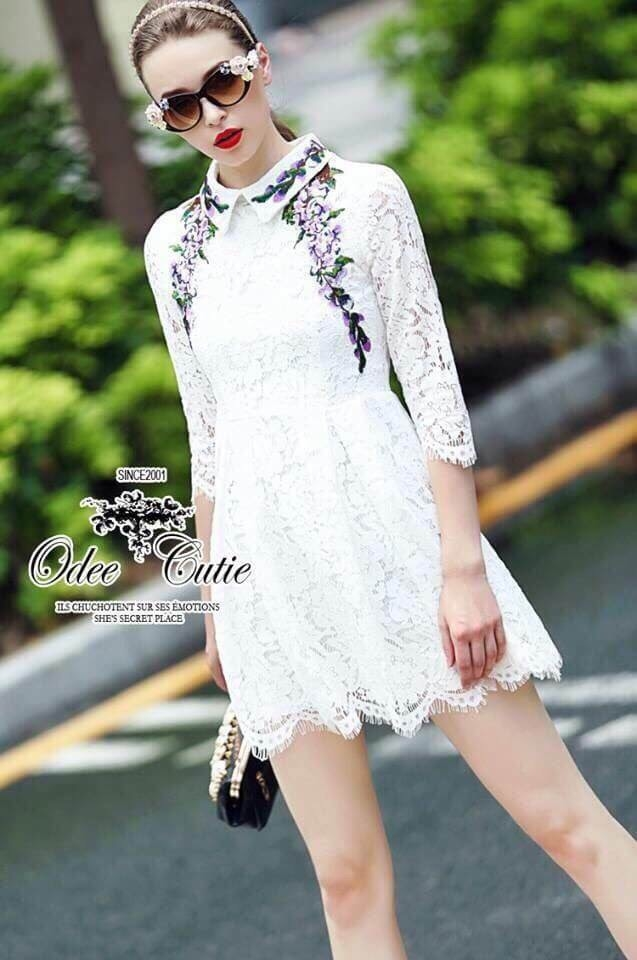 Lavender embroidery lace dress Odee&Cutie Daily Fashion