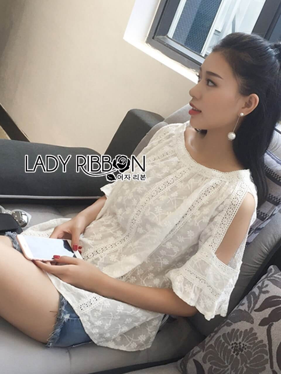 &#x1F380 Lady Ribbon's Made &#x1F380 Lady Leslie Basic White Cut-Out Laser-Cut and Embroidered Top