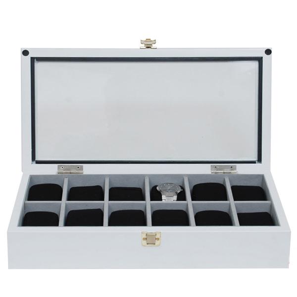 กล่องไม้เก็บนาฬิกา 12 เรือน สีขาว