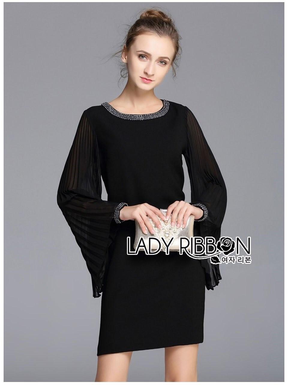 &#x1F380 Lady Ribbon's Made &#x1F380 Lady Katie Allure Embellished Pleated-Sleeve Black Dress