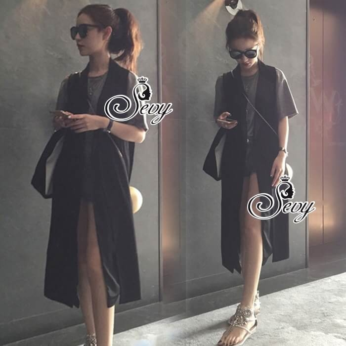 Sevy Sleeveless Double Collar Long Suit Jacket