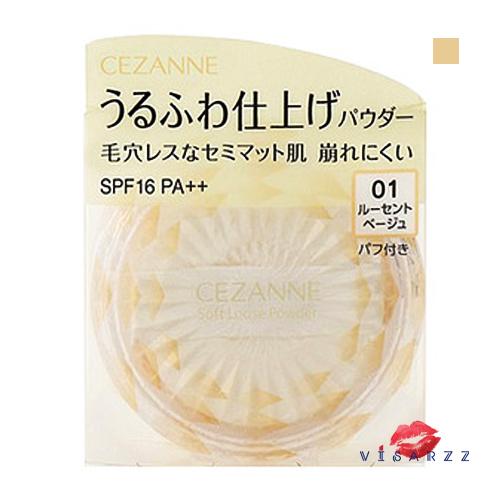 (ใหม่ล่าสุด) Cezanne Soft Loose Powder SPF16 PA++ #01 Lucent ฺBeige แป้งฝุ่นเนื้อนุ่มละเอียดใหม่ล่าสุด ที่ช่วยปรับสีผิวให้มีความเนียน ให้ลุคผิวสวยแบบแมทท์ โทนสีเบจใช้ได้กับทุกสีผิว