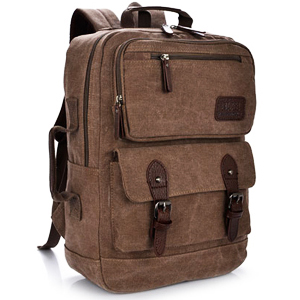 VT07-Brown กระเป๋าเป้แคนวาส กระเป๋าผู้ชาย สีน้ำตาล