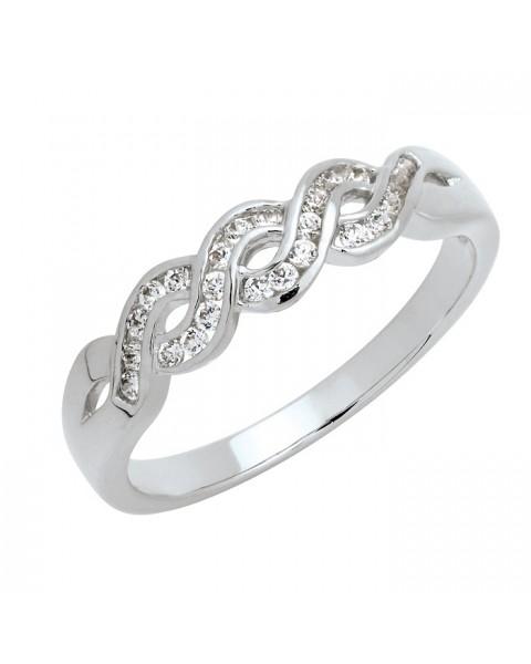 แหวนประดับเพชรฝังสอด 24 เม็ด หุ้มทองคำขาวแท้