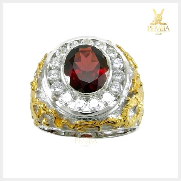 แหวนโกเมนแท้ เท่อย่างมีสไตล์ในลายมังกร ชุบทอง