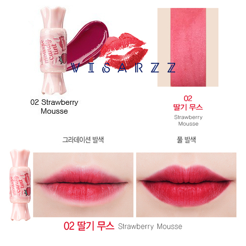(# 02 Strawberry Mousse) The Saem Saemmul Mousse Candy Tint 10g ลิปทิ้นต์กลิ่นลูกกวาดเนื้อมูส แต่ติดแน่น สีสวยสดใสตลอดวัน