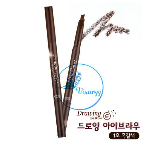 (ขายส่ง 70.-) Etude House Drawing Eye Brow # 1 Black Brown สีน้ำตาลเข้ม ดินสอเขียนคิ้วหัวปาด ให้การเขียนคิ้วเป็นเส้นง่ายขึ้น พร้อมแปรงปัดคิ้วในตัว