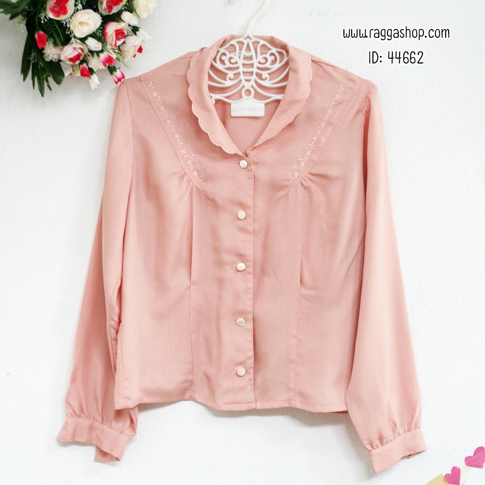 44662 size38 เสื้อเชิ้ตสีชมพูปักลาย