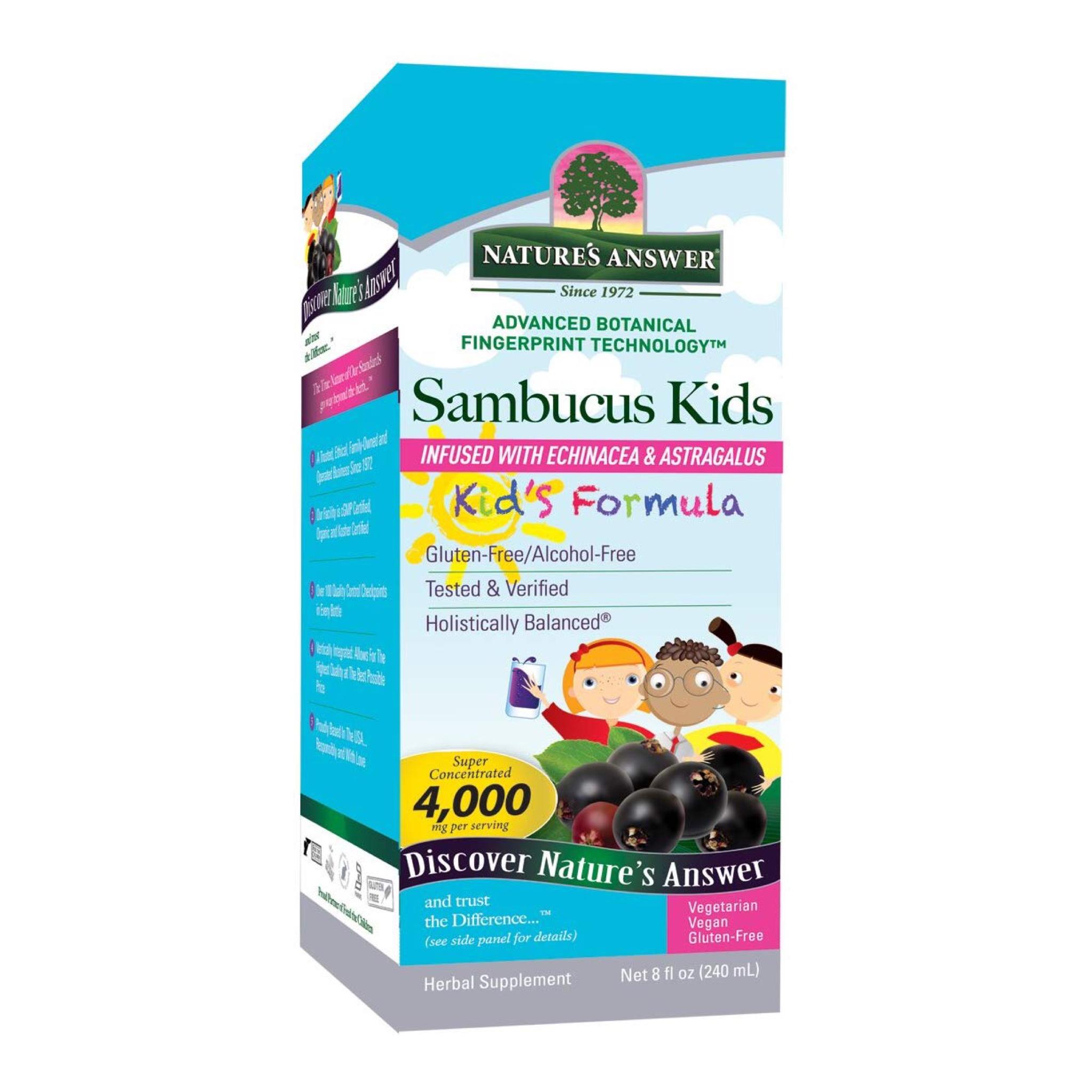 วิตามินเสริมภูมิคุ้มกันสำหรับเด็ก Nature's Answer Sambucus Kid's Formula - Infused with Echinacea & Astragalus (240ml.)