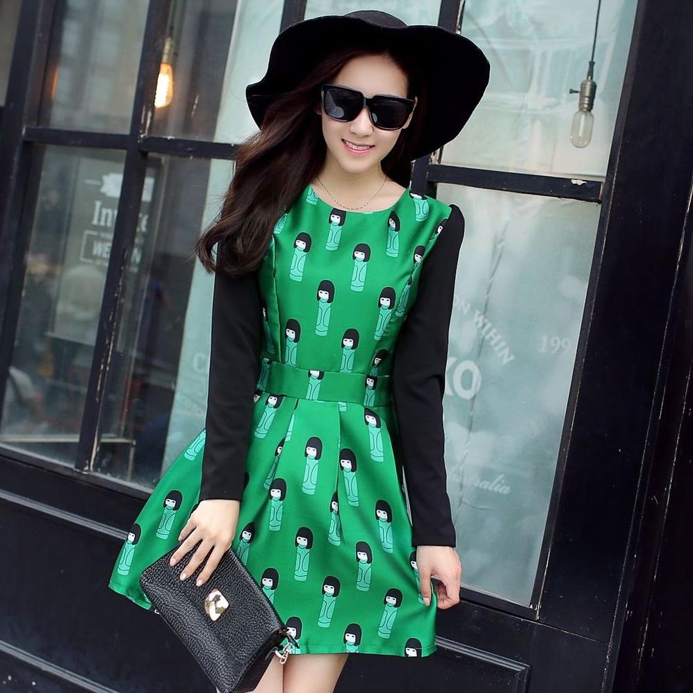 ชุดเดรสสั้นสีดำ เขียว พิมพ์ลายน่ารักๆ แขนยาว ผ้าไหม