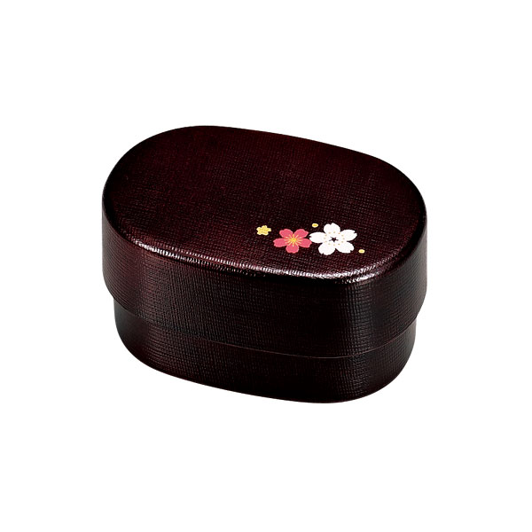 "Kamakura ""nunome"" Pattern Oval Bento - เบนโตะญี่ปุ่นลายผ้า และดอกซากุระ"