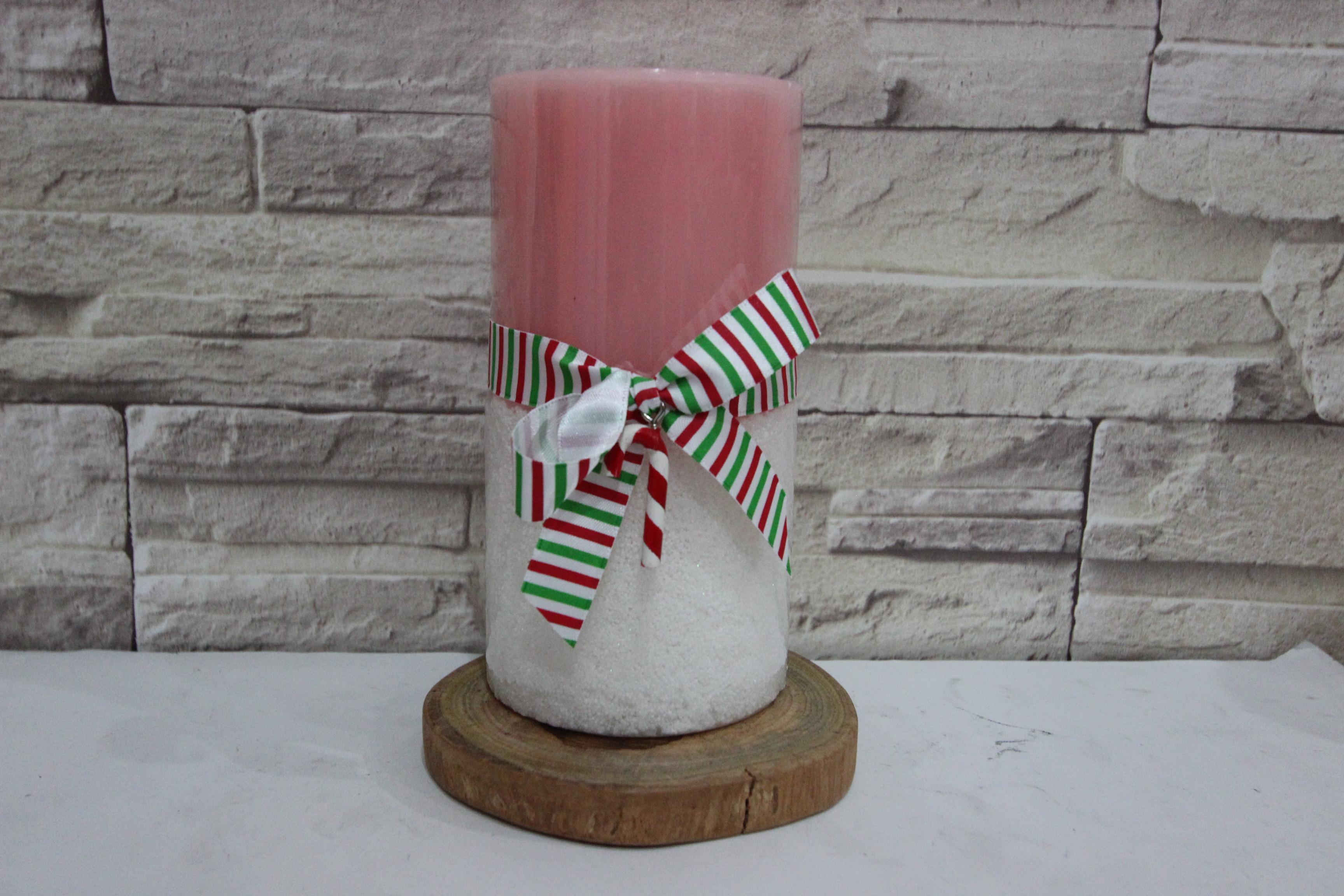 เทียนหอมแฟนซี เทียนหอม เทียนหอมตกแต่งบ้าน 3 x 6 Snowy Mint Pillar Candle Pink Color