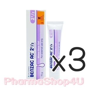 (ซื้อ3 ราคาพิเศษ) Benzac AC 2.5 15g Benzoyl Peroxide Water Base Gel 2.5% เบนแซค ช่วยให้หัวสิวหลุดออกจากตุ่มสิวและฆ่าเชื้อแบคทีเรีย ซึ่งเป็นสาเหตุของสิว