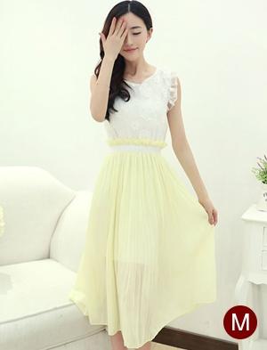 ชุดเดรสยาวสีเหลือง เสื้อปักลายดอกไม้ กระโปรงผ้าชีฟอง น่ารัก แฟชั่นเกาหลี ไซส์M