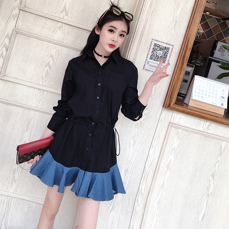 ชุดเดรสสั้นสีดำ คอเชิ้ต แนวน่ารักๆ
