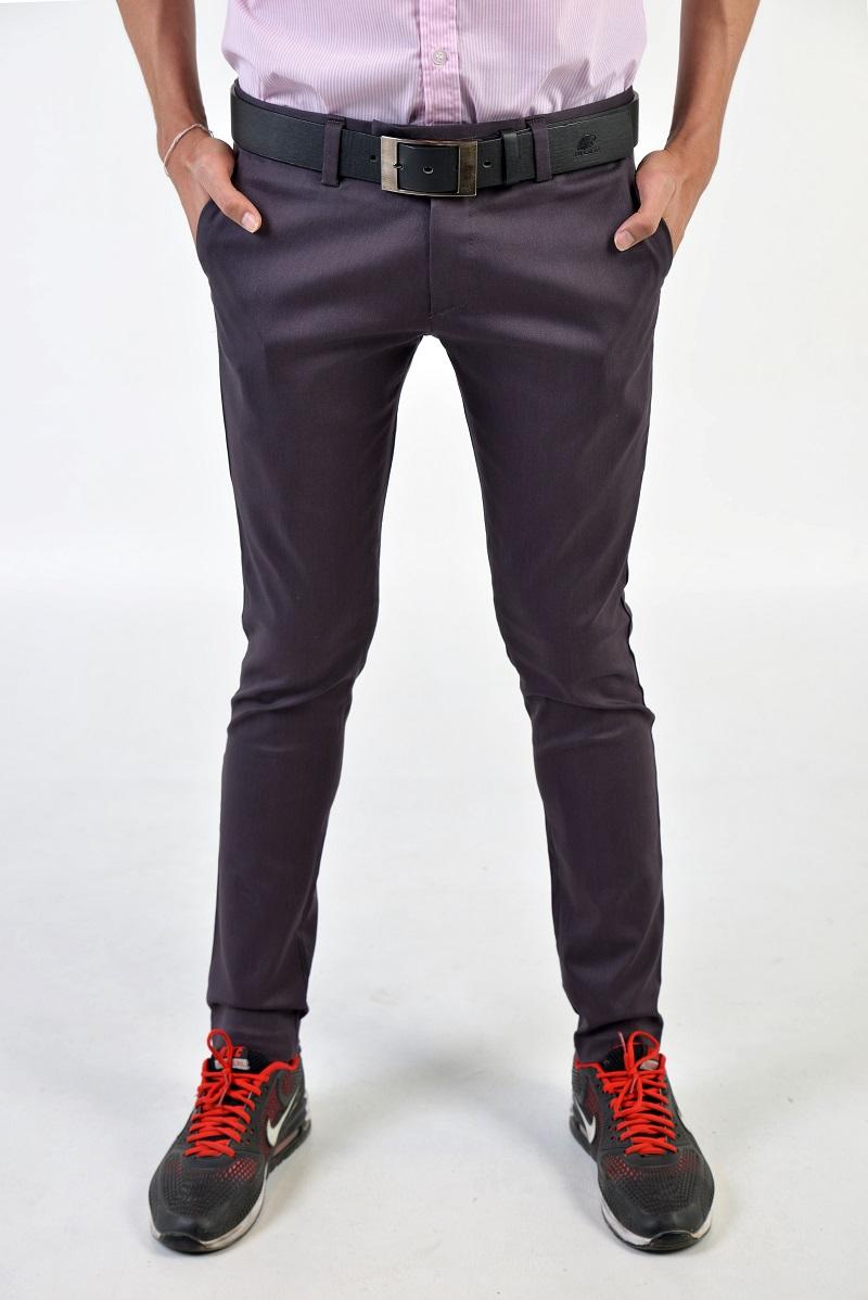 กางเกงสแล็คผู้ชายสีเปลือกมังคุด ผ้ายืด ขาเดฟ