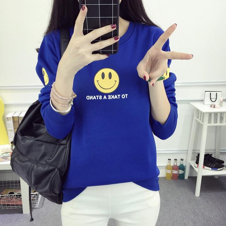 เสื้อแฟชั่น คอกลม แขนยาว บุกันหนาว ลาย smile To take a stand สีฟ้า