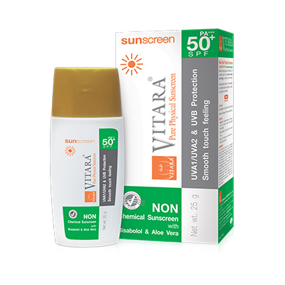 VITARA PURE PHYSICAL SUNSCREEN FLUID SPF 50+ PA+++ กันแดด ไวทาร่า