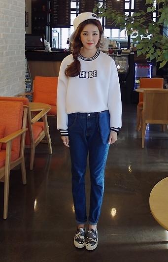 เสื้อกันหนาวแฟชั่น แขนยาว ลาย choose สีขาว