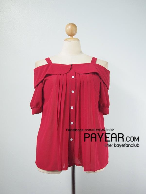 เสื้อ ผ้าชีฟอง เปิดไหล่ สีแดง อก 42-46 นิ้ว