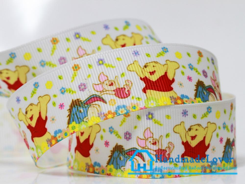 ริบบิ้นผ้า พิมพิ์ลายวินนี่ เดอะ พูห์ / Winnie the pooh ขนาด 25 มิล