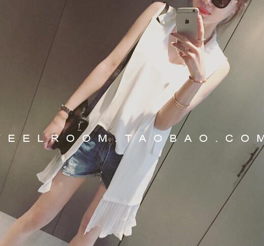เสื้อคลุม แขนกุด ปลายแต่งผ้าระบายพลีท สีขาว
