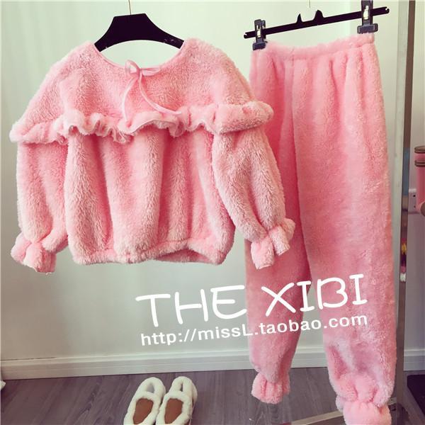ชุดนอน เสื้อแขนยาว + กางเกงขายาว ผ้าขนสัตว์เทียม สีชมพู