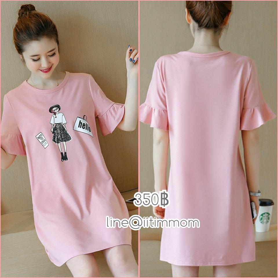 เสื้อคลุมท้องแฟชั่น ผ้ายืดสีชมพูสกีนลาย