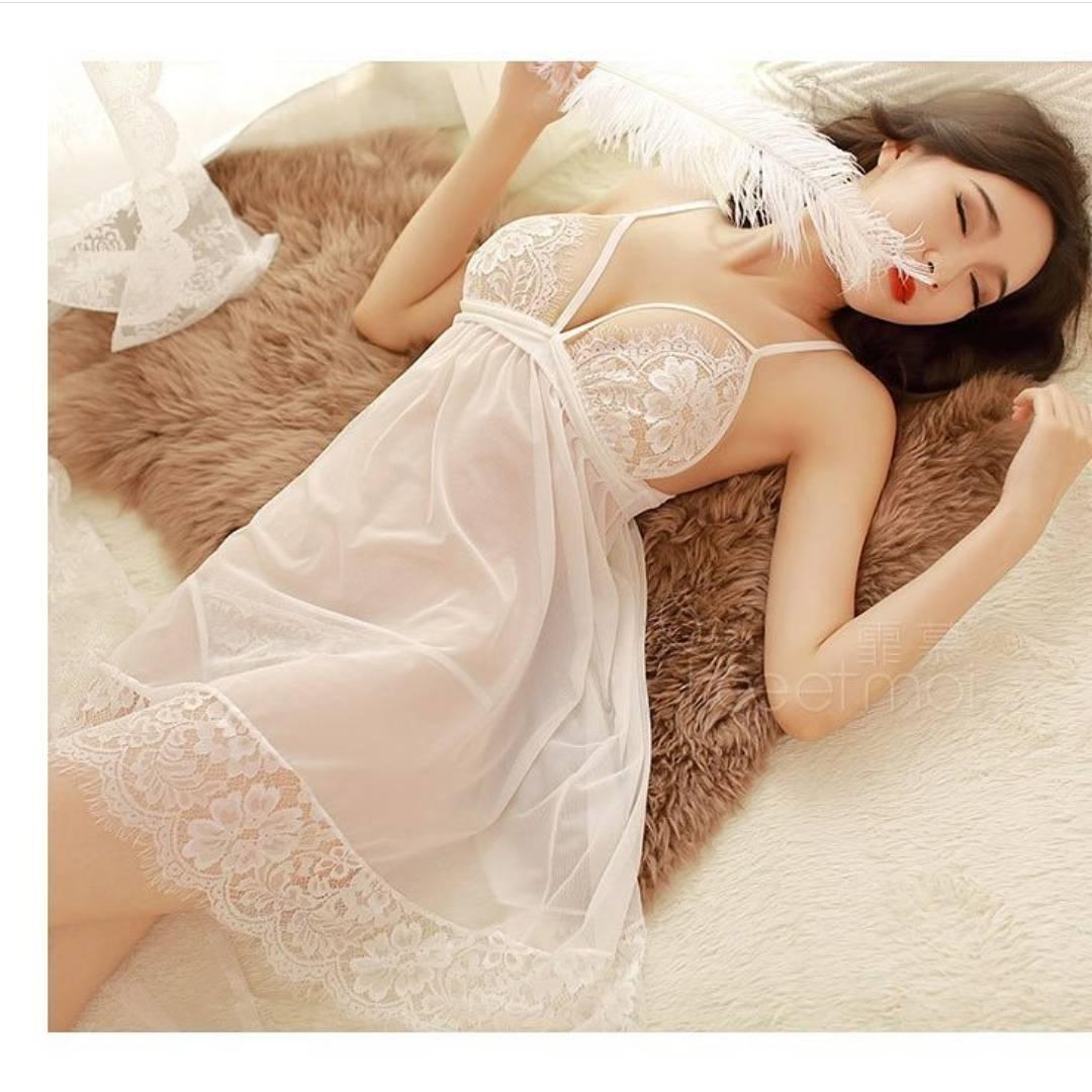 ชุดนอนซีทรูสีขาว ผ้านุ่มใส่สบาย หลับสนิทแน่นอน