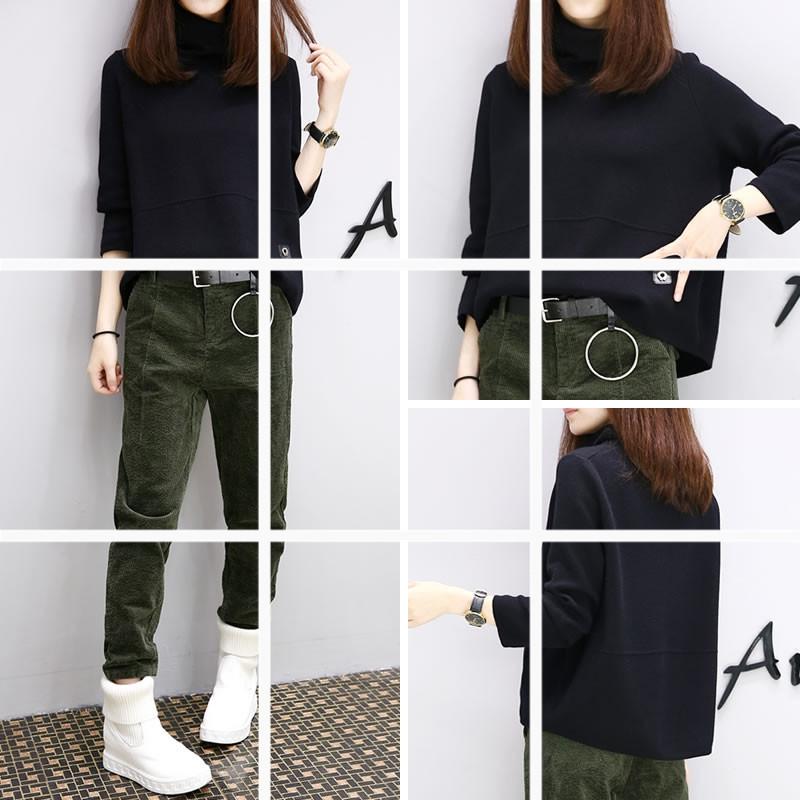 ชุด 2 ชิ้น เสื้อแฟชั่น คอเต่า แขนยาว + กางเกงขายาว ผ้าลูกฟูก สีเขียว