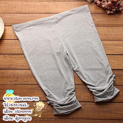 เลกกิ้งขาส่วนผ้ายืด ปลายขาย่นติดกระดุมสกีนลายจุดเอวมีสายปรับ สีเทาอ่อน