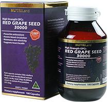 Nutriland Red Grape seed 30000 mg. สุดยอดสารสกัดจากเมล็ดองุ่นแดง Products of Australia