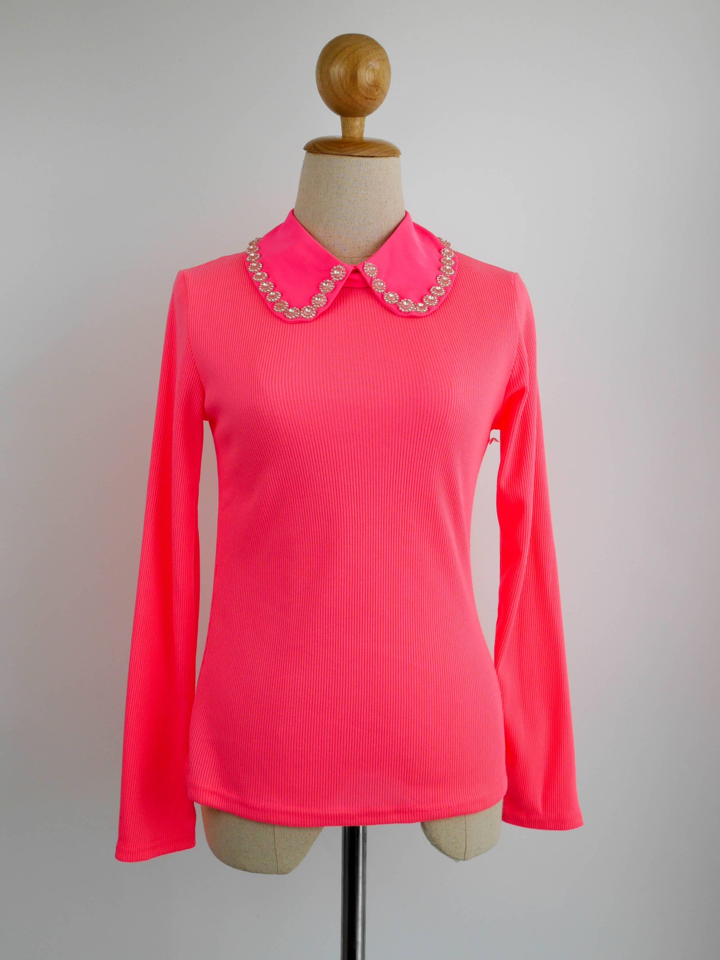 เสื้อแฟชั่น แขนยาว คอปกเชิ๊ต(ถอดได้) สีชมพู