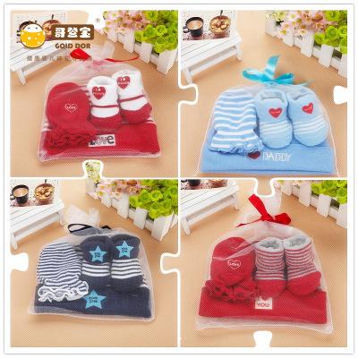ิbaby gift set ถุงเท้า,หมวก,ถุงมือ สำหรับแรกเกิด-6เดือน