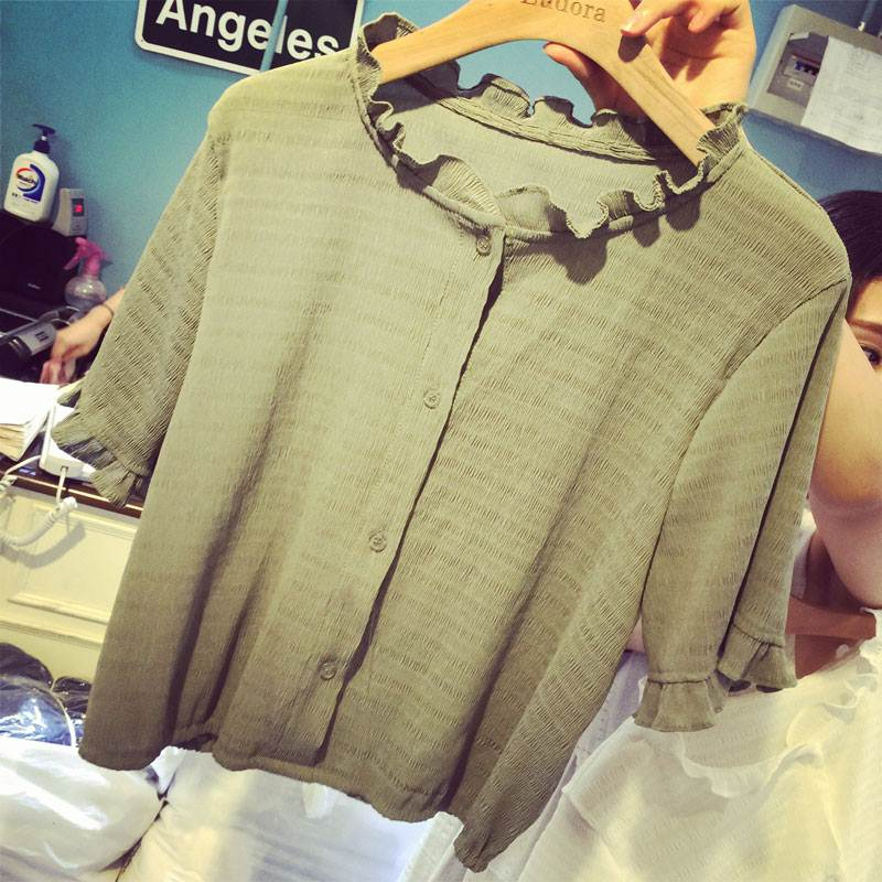 (SALE) เสื้อแฟชั่น คอปก ผ้าชีฟอง สีเขียวขี้ม้า(สินค้าจริงเขียวเข้มกว่าในรูป)